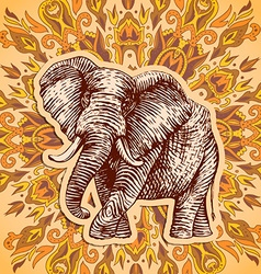 Stylized fantasy patterned elephant Hand drawn vector image vector image