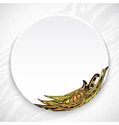 White plate with leaf ornament tribal style vector image vector image