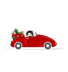 Woman driving red car for your design vector
