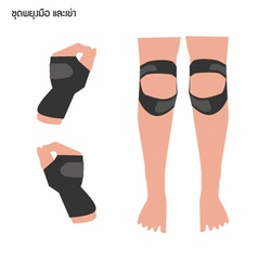 Wrist support and knee support on white background vector
