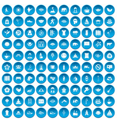 100 yoga icons set blue vector