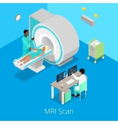 Isometric medical mri scanner imaging process vector