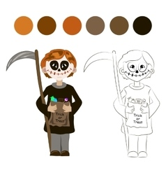 Kid with halloween skeleton costume vector