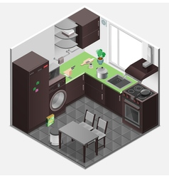 Kitchen interior isometric composition vector