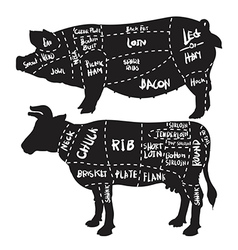 Pork and beef cuts diagram and butchery set vector