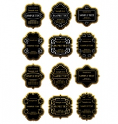 Set of gold and black labels vector