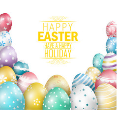 Easter eggs on white background vector