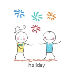 holiday with colorful fireworks vector image