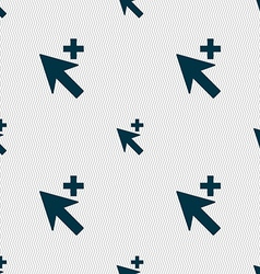 Cursor arrow plus add icon sign seamless abstract vector