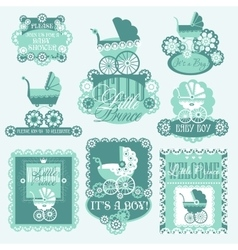 Baby shover set with prams vector