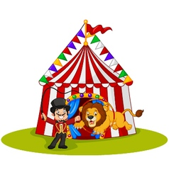 Cartoon lion jumping through ring with circus tent vector