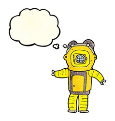 Cartoon deep sea diver with thought bubble vector