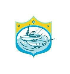 Blue Marlin Charter Fishing Boat Retro vector image