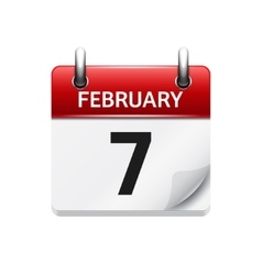 February 7 flat daily calendar icon date vector