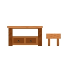 Wooden old brown table and wood desk surface retro vector