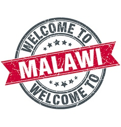 Welcome to malawi red round vintage stamp vector
