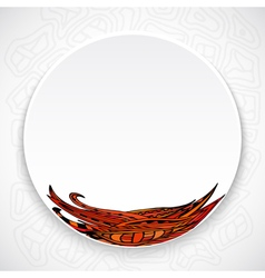 White plate with red floral ornament tribal style vector