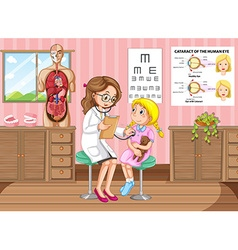 Doctor giving treatment to little girl vector image