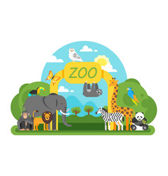 Animals standing at the zoo entrance vector