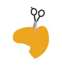 barbershop scissor with hair vector image vector image