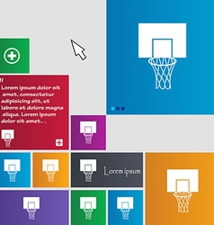 Basketball backboard icon sign buttons Modern vector image vector image