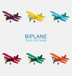 Biplane in color monochrome vector