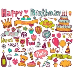 Birthday doodle icons vector image vector image