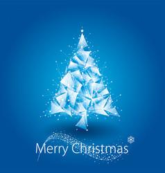 blue christmas tree geometric vector image vector image