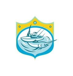 Blue Marlin Charter Fishing Boat Retro vector image vector image