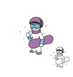 boy snowboarder vector image vector image