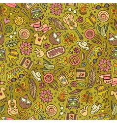Cartoon hippie seamless pattern vector image vector image