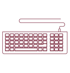Dark red line contour of computer keyboard vector