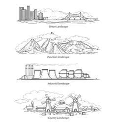 Doodle hand drawn landscapes vector image vector image