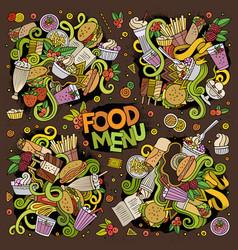 doodles cartoon set of food doodles designs vector image
