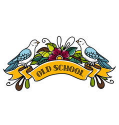 Doves sit on vintage ribbonlettering old school vector