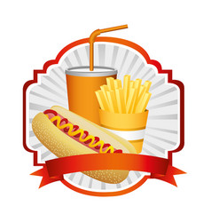 Emblem with hot dog fries french and soda with vector