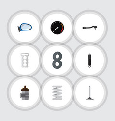 Flat icon component set of auto component packing vector
