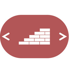 Flat paper cut style icon of brickwork fragment vector
