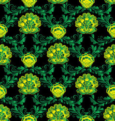 Floral green baroque seamless pattern vector image vector image