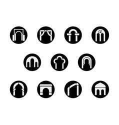 Frame arch shapes round black icons set vector