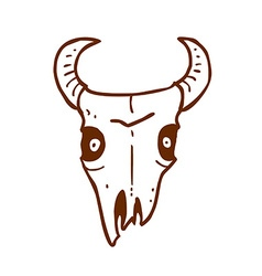 Hand Drawn Bull Skull vector image