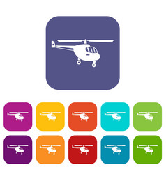 Helicopter icons set vector