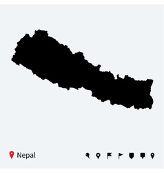 High detailed map of nepal with navigation pins vector