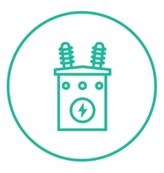 High voltage transformer line icon vector