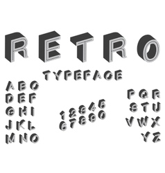 isometric retro typeface font in vintage style vector image vector image