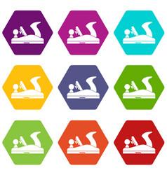Jack plane icon set color hexahedron vector
