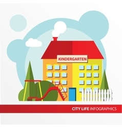 Kindergarten building icon in the flat style vector