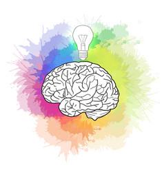 Linear of human brain with light bulb and rainbow vector