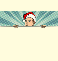 man with santa hat sales banner vector image vector image