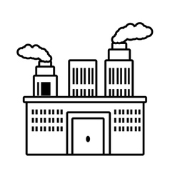 Manufacture building pollution chimney outline vector